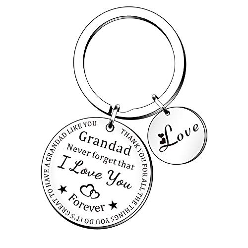 HULALA Grandad Keyring Fathers Day Gifts Grandfather Birthday Christmas Presents Men Keychain Key Rings Engraved Thank You For All The Things You Do
