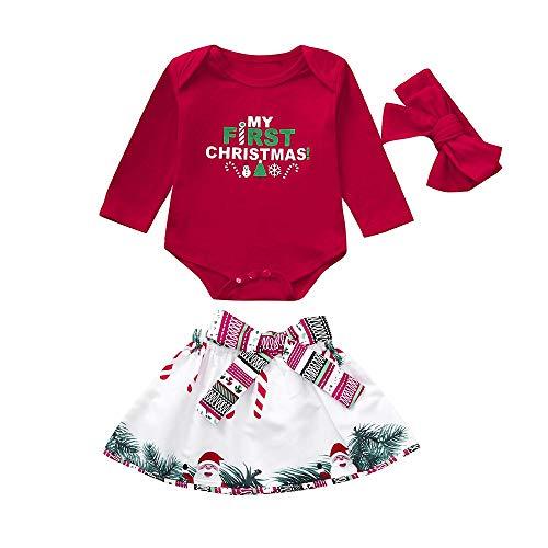 Ropa Navidad Disfraz Niña Bebe Fossen Recién Nacido Bebé my First Christmas Monos Tops + Falda Corta Patrón de Árbol de Navidad y Santa Claus + Diadema (6-12 Meses, Rojo)