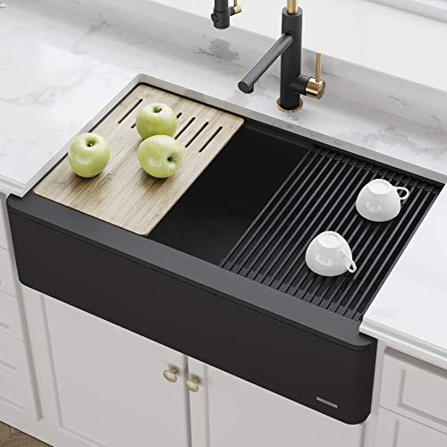 Kraus KGF1-33BLACK Bellucci inch CeramTek Granite Quartz Composite Farmhouse Flat Apron Front Single Bowl Kitchen Sink