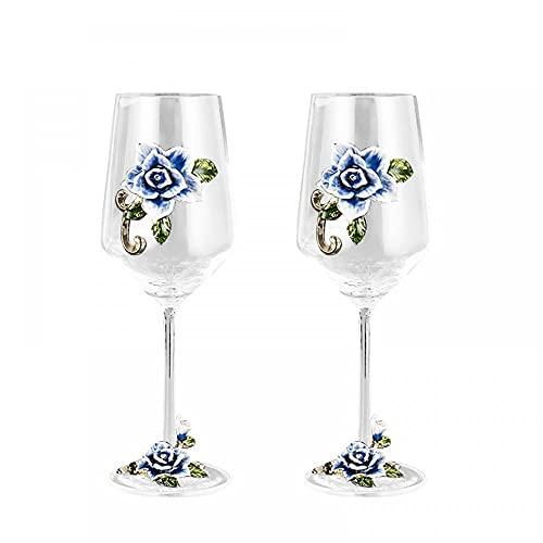 Copa de vino de cristal de 350 ml, elegante, pintada a mano,...