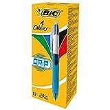 BIC 4 in 1 4-Farb-Druckkugelschreiber Grip (Dokumentenecht, mit Gummi-Griffzone, Nachfüllbar, Strichstärke 0,4mm, Stifte Set mit 12 Mehrfarbenstiften) rot, blau, schwarz und grün