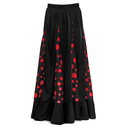 Falda Flamenca Niña Negra con Quillas Lunares Rojos [Tallas Infantiles 2 a...