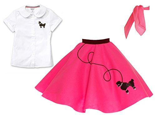 Hip Hop 50s Shop 3 Piece Child Poodle Skirt Outfit, Size 6 Hot Pink