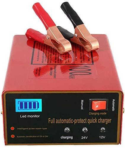 Cargador de Batería de Coche 12v 24v Cargador Automático Inteligente para Batería de Litio Plomo Acido con Pantalla LED para Coche/Moto/ATV/RV/Barco