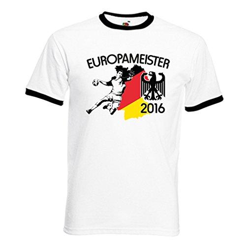 Shirtmacher Deutschland Handball Meister-Shirt - Kontrast personalisiert mit eigener Rückennummer und Wunschname Gr. XXL