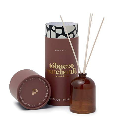 Paddywax Candles Petite Collection Reed Diffuser, 1.5-Ounce, Brown - Tobacco Patchouli