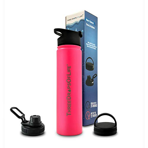 25oz Double Wall Stainless Steel Water Bottle, Best Vacuum Insulated Bottles for Hot and Cold Beverage. Includes Three Interchangeable Lids (Pink)