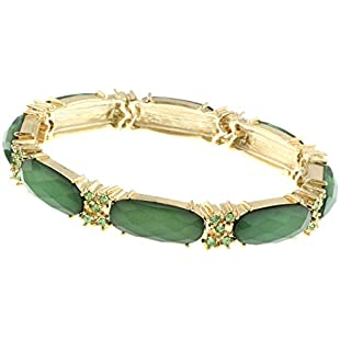 1928 Jewelry Gold-Tone Green with Peridot Accent Stretch Bracelet of 17cm