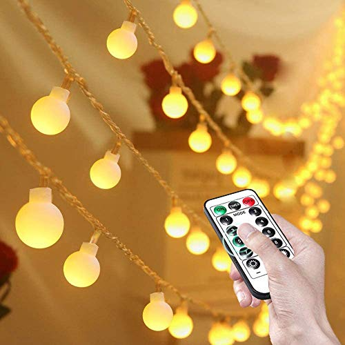 Led String Lights 80 LED Globe Fairy Lights IP65 Waterproof Battery Powered Party Lights with Remote Timer for Indoor Outdoor, Garden, Bedroom, Christmas Decorations, 8 Modes, 8m/26.2ft