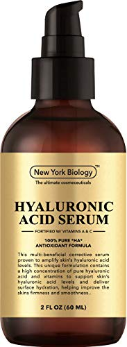New York Hyaluronic Acid Serum with Vitamins A and C - Professional Strength Anti Aging Face Serum Improves Skin Texture and Moisturizes Skin - Huge 2 oz