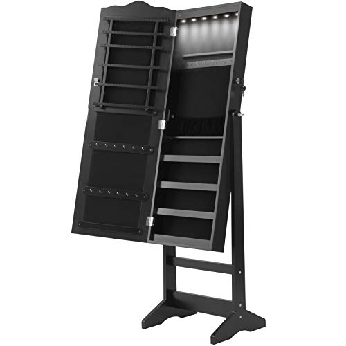 MIADOMODO Schmuckschrank mit Standspiegel - mit LED Beleuchtung, abschließbar, schwenkbar, Vintage, Schwarz - Schmuckregal, Schmuckkasten, Schmuckaufbewahrung, Spiegelschrank