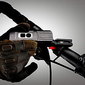 Soonfire FD38S Faro delantero de bicicleta recargable USB súper brillante,2 ledes de 1870 lúmenes con un alcance efectivo de 167 metros,resistente al agua,de montaje y desmontaje simplemontaje simple