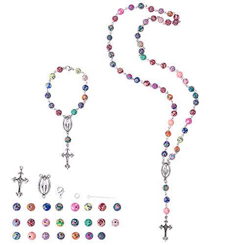 SUNNYCLUE Kit de Fabricación de Cuentas de Oración Del Rosario DIY 8mm Cuentas de Rosario Multicolores Católicas, Incluir Crucifijo, Habitación Central, Anillos de Salto Y Cierres de Garra de Langosta