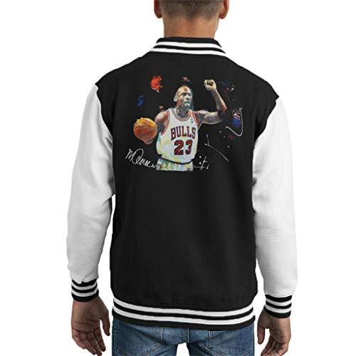 VINTRO Michael Jordan Basketball-Jacke für Kinder, Original-Portrait von Sidney Maurer, professionell bedruckt Gr. XL, Jet Black Arctic White