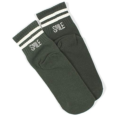 QYY Confortable à Porter brodé à Rayures Sport Coton Tube Sock, Taille: Taille (Noir) (Couleur : Green, Taille : One Size)