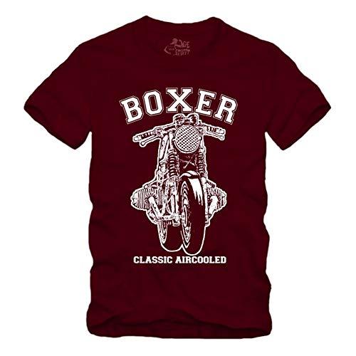 Boxer Cafe Racer - Airhead - Maroon T-Shirt S-XXL R100 Geschenke für Motorradfahrer Biker (L)