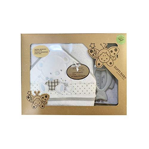 Duffi Baby 0931-11 - Maxicapa de baño bordada 100x100 cm. + termómetro, gris, unisex