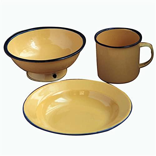 Vajilla de 3 piezas de esmalte de vajilla, platos esmaltados, cuencos esmaltados, tazas esmaltadas, taza de esmalte para acampar, picnic, uso diario (juego de 2, arena)