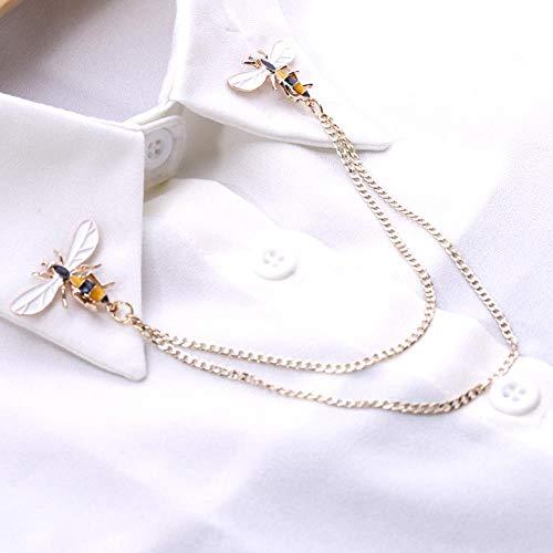 Cute Bee Vintage Broches Pins Animal Aleación Metal Cadena Broche Broches Hombre Traje Camisa Collar Borla Pin de solapa Joyería de mujer Regalo-Plata