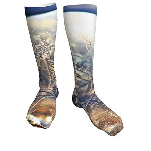 Compression Socks Women & Men Crystal Clear Ice Crystal Heel Thick Socks - Best for Running,Athletic Sports,Flight Travel, Pregnancy, Soccer