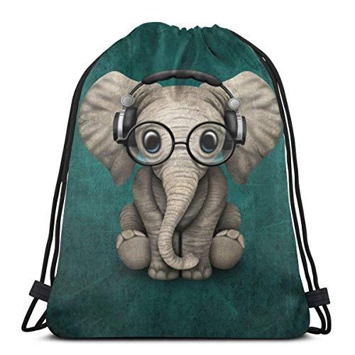 Elefante bebé usando gafas y auriculares bolsa de gimnasio bolsa con cordón mochila de poliéster bolsa de deporte para hombres y mujeres