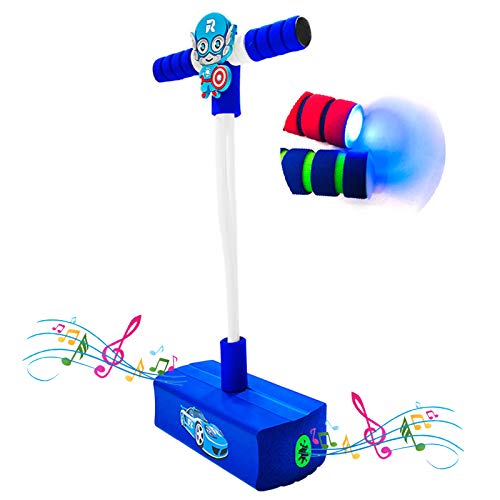 TIANM Pogo Stick para Niños, Fotos De Dibujos Animados Rana Juguete Juguete, Voz Flash Bounce Sense Training Pogo Stick Saltando Zapatos Robot