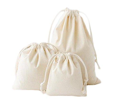 iTemer 3Größen Kordelzug Staubbeutel natürlichen Farbe Baumwolle tragbar Kordelzug Rucksack Schultasche Schuhe Bag Sport Gym Pocket 3(beige)