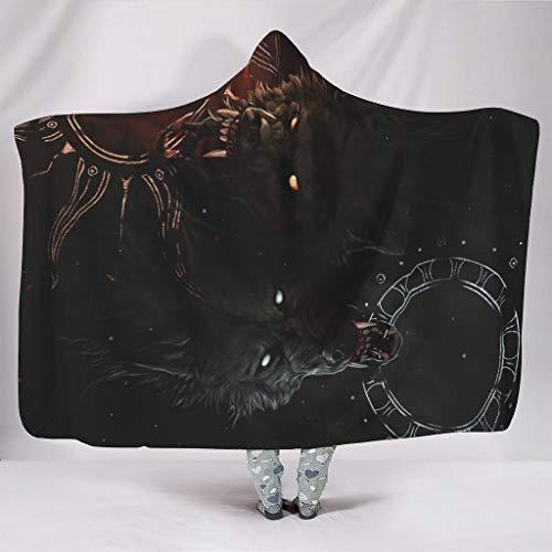 Manta suave con capucha Fantasy Vikingo Wolf Hati Skoll Hati Totem estampado cálido invierno forro polar retro capa capa con capucha blanco 150 x 200 cm