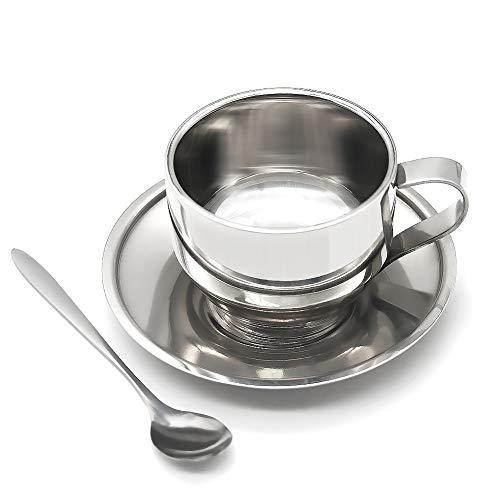 Isolierter Edelstahl-Kaffeetassen-Set, 125 ml, doppelwandige Kaffeetassen mit Untertasse und Löffel, Cappuccino, Kaffee, Latte, Tee, Espresso, 3-teilig