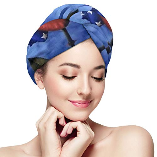 Red White Blue Rose American Flag Microfiber Hair Towel Wraps with Button for Women Quick Dry Anti-frizz Head Turban for Long Thick Curly Hair Super A