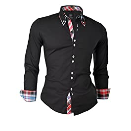 D&R Fashion Smart Shirt with Classic Button Down Collar Slim Fit Italian Design
