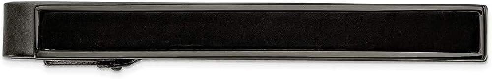 Stainless Steel Gun Metal IP-Plated Carbon Fiber Inlay Tie Bar - 54mm x 6mm