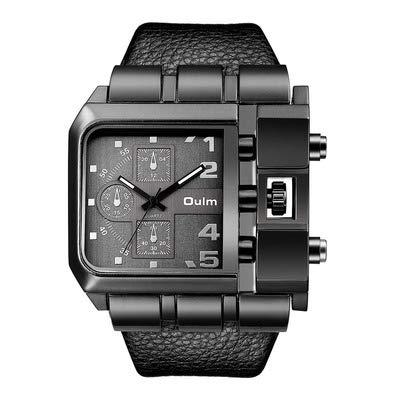 LLDKA Analog Quarz Armband Männer einzigartige beiläufige Uhren, quadratisches weißes Zifferblatt und schwarzer Lederarmband 2019,Schwarz