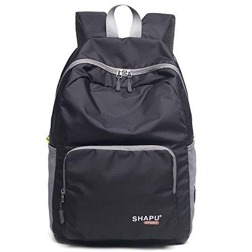 Dokoclub Ultraleichter, verstaubarer Rucksack, wasserdicht, für Reisen, Wandern, Tagesrucksack (schwarz, klein)