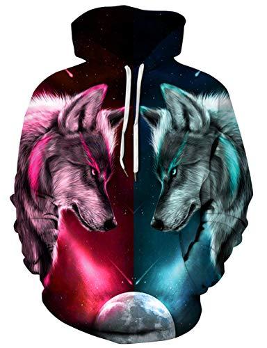 Loveternal Wolf Hoodie Hombres 3D Impreso Sudaderas con Capucha con Dibujos para Adolescentes Jumpers L/XL