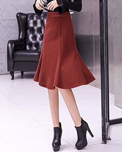 PengGengA Mujer Cintura Alto Midi A Media Pierna Plisado A-Line Plisado Falda Vino Rojo S