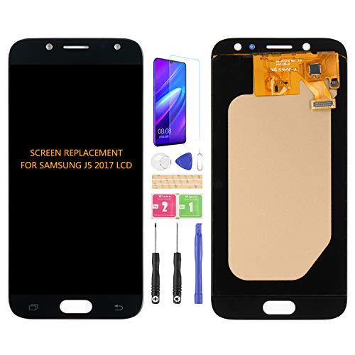 Para Samsung Galaxy J5 2017 J530 J530F J530S J530K J530L J530FM J530Y J530YM LCD Pantalla Digitalizador Kit de montaje de vidrio, película templada, pegamento y herramientas (negro)