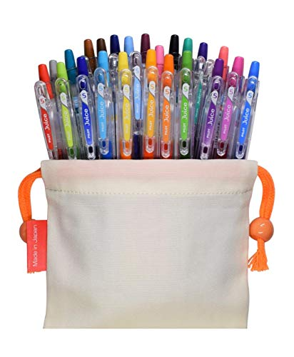 Pilot Juice Gel Ink Retractable Ballpoint Pen (0.5mm Extra fine Point, 24 Color with Drawstring Bag Set)