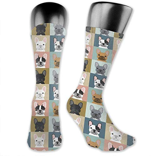 Perfect Gifts - French Bulldog Pattern Dress Socks Funny Crazy Novelty Mid-Calf Socks Casual Breathable Athletic Compression Socks For Home Work Travel Running Hiking