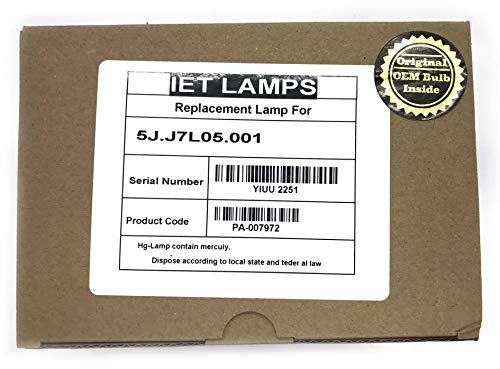 Genuine OEM Replacement Lamp for BenQ W1070, W1080ST, HT1085ST, HT1075 Projector 5J.J7L05.001 - IET Lamps with 1 Year Warranty (Power by Osram)