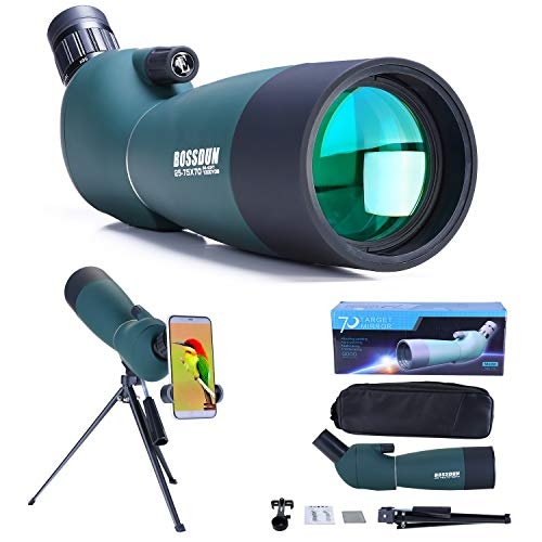 25-75x70 Spotting Scope with Tripod, Carrying Bag and Smartphone Adapter - HD Waterproof Birdwatching Monocular Scope for Safari Sightseeing Stargazing Archery Camping Wildlife Scenery