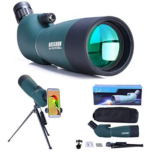 25-75x70 Spektiv mit Stativ, Tragetasche und Smartphone Adapter, HD Wasserdichtes Monokularfernrohr für Vogelbeobachtung Safari-Besichtigungen Sternebeobachten Bogenschießen Landschaft Camping