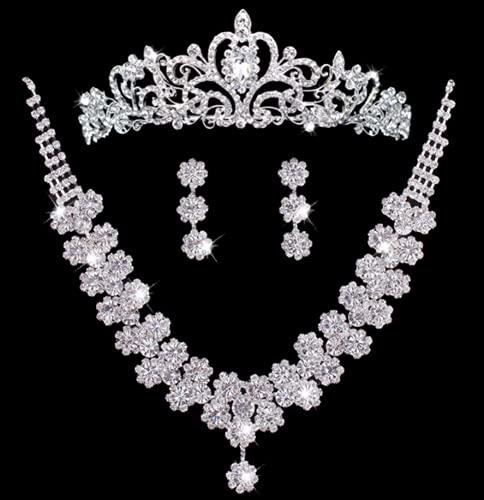 WOFEI Tiara Corona Nupcial 3 Juegos Vestido De Novia De Alta Gama con Diamantes De Imitación Pendientes Collar Fiesta De Cumpleaños Mostrar Accesorios,10