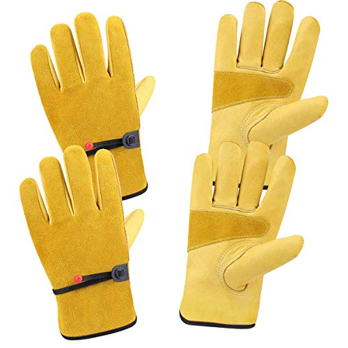 CCBETTER Leather Working Gloves for Gardening,Thornproof Gardening for Men and Women,Stab-Resistant Garden Tools Comfort Stab-Proof Cut-Resistant Thickening Cowhide 2 pairs (M)