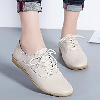 HAWEEL Flat Bottom Lightweight Fashion Casual Lace-up Leather Shoes for Woman