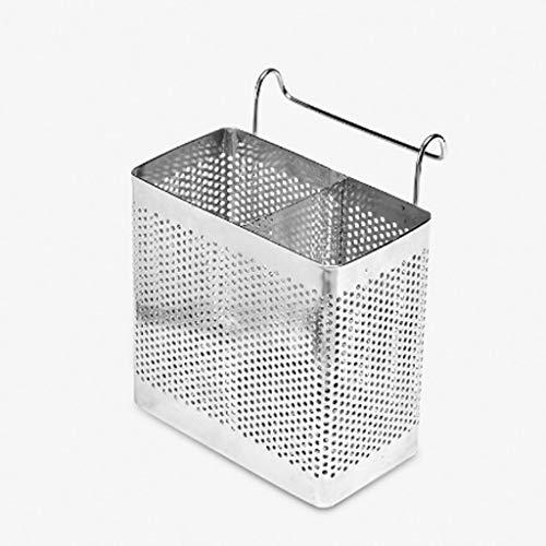 LKESWLE Soporte de Almacenamiento de vajilla de Dos Celdas de Acero Inoxidable Diseño Hueco Cesta de Almacenamiento de Jaula de Palillos Colgantes