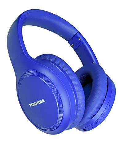 Toshiba Noise Cancelling Bluetooth Headphones | Wireless Over Ear Headphones | Bluetooth Headset with Microphone | 20 Hours of Talk & Music Time | 33 FT Operating Range | RZE-BT1200H(L), Blue