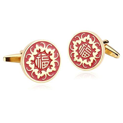 Beydodo Herren Hochzeit Manschettenknöpfe (Cufflinks) Edelstahl Gold Rot mit Gravur Chinesisches Wort Fu Hemd Manschetten Knöpfe