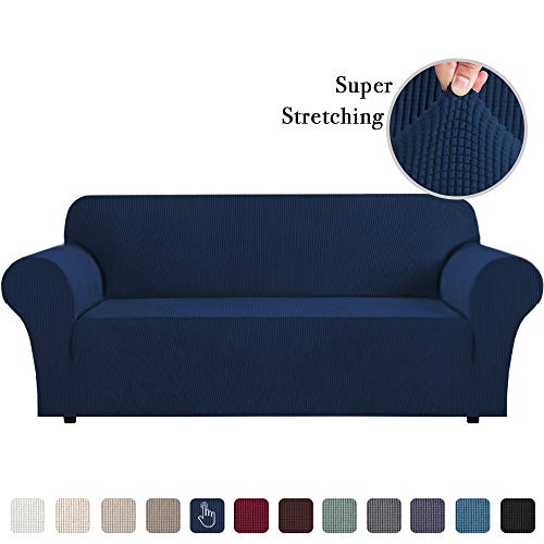 Sofa Slipcover 1 Piece Sofa Slipcovers 3 Seater Furniture Covers for Moving Stretch Sofa Covers for 3 Cushion Couch Washable Slipcover Sofa Couch Covers Feature Spandex Jacquard, Navy