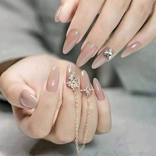 TJJF Faux ongles Solide Couleurs Solide Colorfalse Ongles Patches Chaîne Strass Embellissement Décoratif Manucure Beauté Outil Longue Couverture Complète Faux Ongles